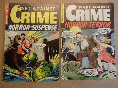 STORY COMICS Fight Against Crime #12 & #21 LOT VG (4.0) Pre-Code Horror Crime