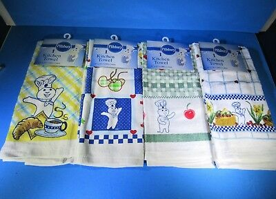 Lot of Four (4) NWT 2005 Pillsbury Doughboy Kitchen Towels Blue Yellow Green Red
