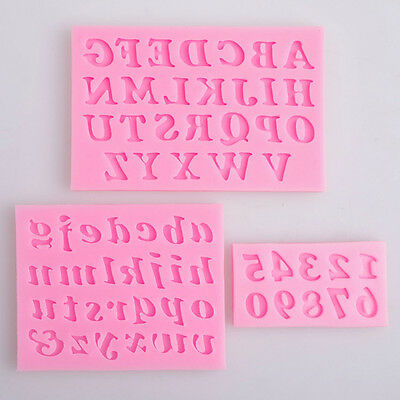 3x Alphabet Letter Number Silicone Fondant Mould Birthday Cake Decorating w/