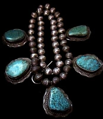 OLD #8 TURQUOISE Sterling NAVAJO PEARLS Squash Blossom Necklace Native American