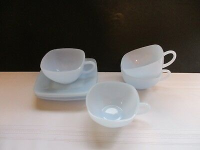 Vintage Fire King Azurite Blue Delphite Square Cup And Saucer ~ 4 Available