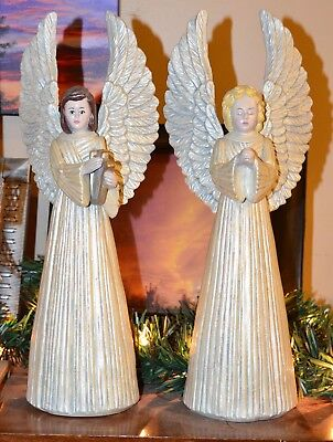 Rare Nice Set of 2 Huge Beautiful Vintage Mantle Christmas Angel Candle Holders