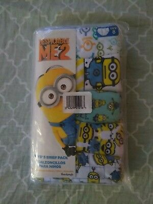 Minions Underwear Underpants Boys 5 Brief Pack Sz 8 Eight Despicable Me