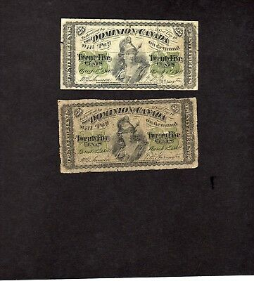 """1870 X 2  Dominion Of Canada Twenty Five Cent """"shinplaster""""  Notes   Have A L@@k"""