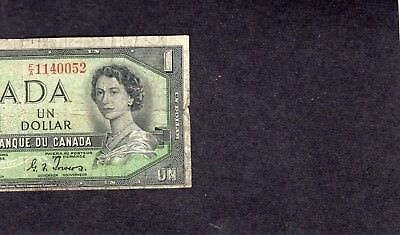 "1954 ""devils Face"" Off-Cut Canada One Dollar Ser# F/a 1140052  Have A L@@k"