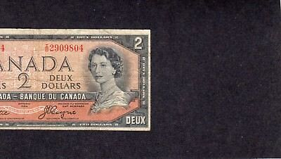 "1954 ""devils Face"" Canada Two Dollar Bill Ser# T/b 2909804   Have A L@@k"