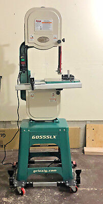 "Grizzly G0555LX Deluxe Bandsaw 14"" with Riser Block and Mobile Base"