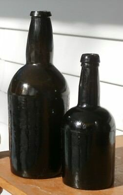 Pair Of Early Civil War Period-Crude Black Glass Antique Ale Bottles