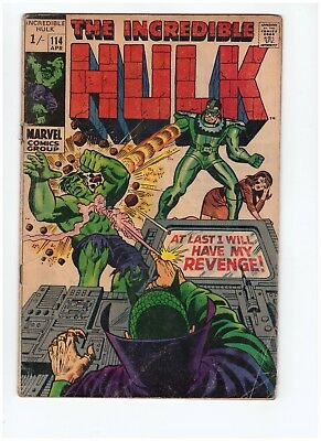 The Incredible Hulk #114 Rare Price Variant  VG/GD Silver Age Lot 1969