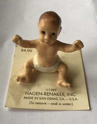 Vintage 1989 Retired Hagen-Renaker Baby Doll Infant Ceramic