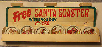 Lot of 55 1960's Coca Cola Santa Coaster Trays with Cardboard Display