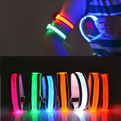 Reflective Sports Running Cycling Snap LED Light Belt Strap Safety Arm Band