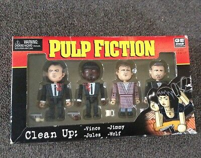 """PULP FICTION - GE OMS """"Clean up"""" Vince, Jules, Jimmy & Wolf Toy Figures 2004"""