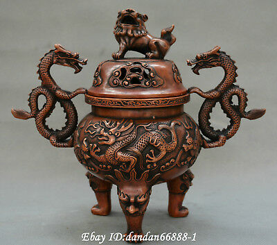 Collect Chinese old bronze carve two dragon lion Leo beast incense burner censer