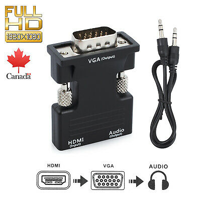 HDMI Female to VGA Male Converter 3.5mm Audio Adapter For HDCP 1080P Output