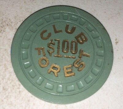 Club Forest $1  Illegal Casino Chip New Orleans LOUISIANA 2.99 Shipping