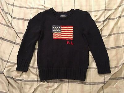 Polo Ralph Lauren American Flag Sweater Knit Kids Youth Girls Boys Size 5