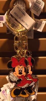Disney Parks Minnie Mouse Charm Keyring Metal Keychain New
