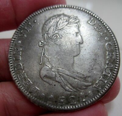 1821 GA/FS (MEXICO) 8 REALES (GUADALAJARA) WAR of INDEPENDENCE --VERY RARE--