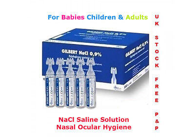 BABY STERILE SALINE SOLUTION NaCl NASAL NEBULISER 5ML PODS FIRST AID EYEWASH Sól