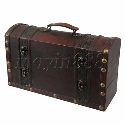 Retro Wooden Gift Box Double Bottle Vintage Wine Storage Box Case Brown