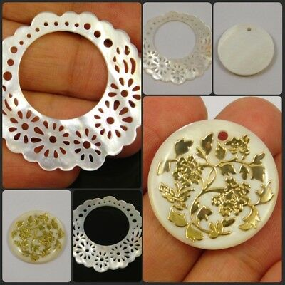 100% Natural Mother Of Pearl Drilled Golden Flower Work Round Shape Gemstone