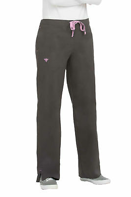 Med Couture Women's 8705 Drawstring/Elastic Scrub Pant - Charcoal/Powder Pink