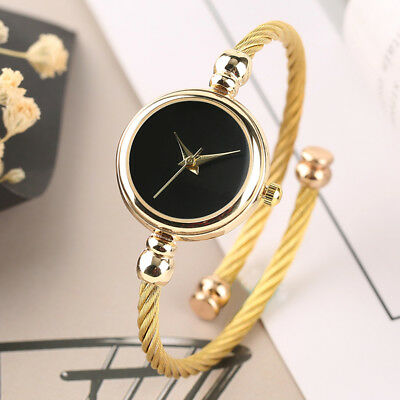 Luxury Golden Cable Wire Band Women's Dress Quartz Bangle Cuff Watch Small Dial