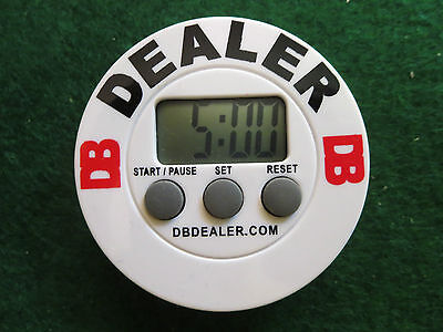 The Original White Poker Blind Timer Dealer Button All in One!