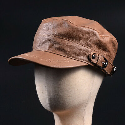 Genuine Leather Hand Crafted Men s Cowhide Military Flat Army Beret Hat cap 22b3e81b4524