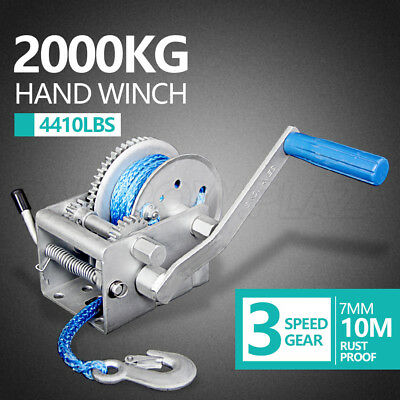 2000KG/4410LBS 3 Speed Hand Winch 10M Dyneema Synthetic Rope Boat Car Trailer AU