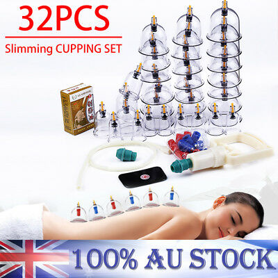 32 Cups Vacuum Cupping Kit Massage Acupuncture Suction Massager Pain Relief AU