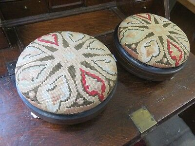 Rare Pair Of Victorian Footstools With Original Embroidery & Ceramic Feet