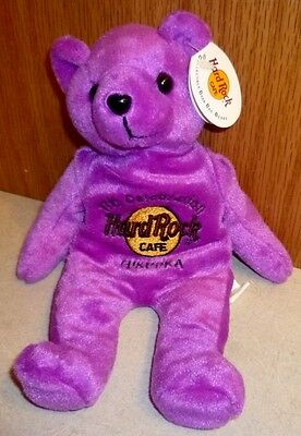 Hard Rock Cafe Fukuoka 福岡 Japan 日本 Celebration Bean Beanie Bag Bears Violet 9""