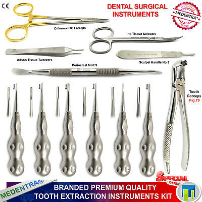 MEDENTRA® Dental Luxation Elevators Surgical Root Extraction Instruments Kit X12