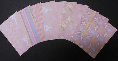 """Baby Girl Double-Sided Papers x 10 *PRETTY IN PINK*  - 15cm x 10cm  (6""""x 4"""")"""