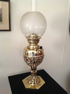 Antique Ornate Brass Victorian Kerosene / Oil Lamp