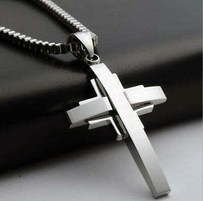 """20""""Mens Stainless Steel Silver Cuban Jesus Cross Pendant Necklace Chain"""