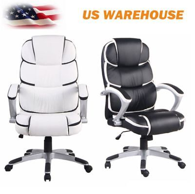Home Office Task Swivel Executive Chair Race Car Seat Black White PU Leather