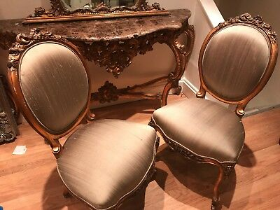 French Antique Ornate Pair of Chairs