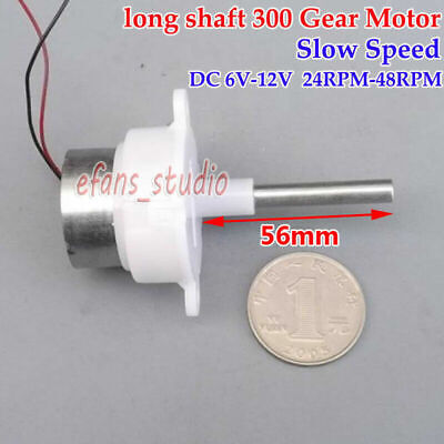 DC6V~12V 48RPM Slow Speed Long Shaft Turbo Worm Gear Motor Micro Gearbox Reducer