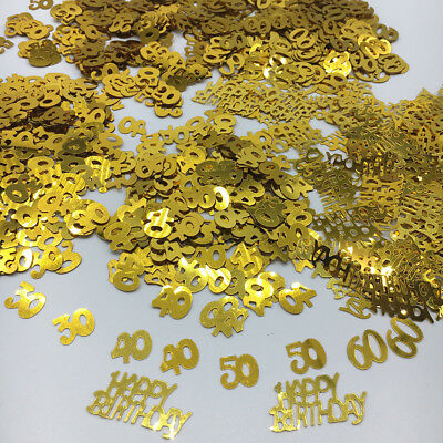 30 40 50 60th Happy Birthday Age Number Gold Confetti Sprinkle Party Table Decor