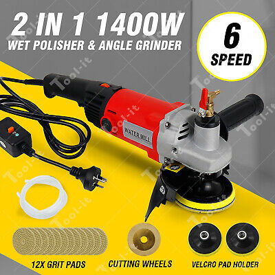6-Speed 1400W Polisher Concrete & Stone Wet Polishing Kit with 12X Diamond Pads