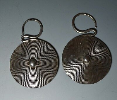 Vintage Miao Chinese ethnic minority Hill tribe silver disc earrings