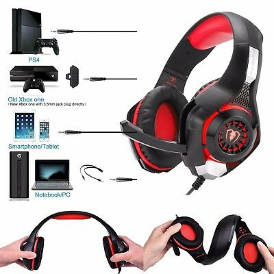 Red Beexcellent GM-1 Gaming Headset Xbox One Headsets,PS4,PC Headset With Mic UK