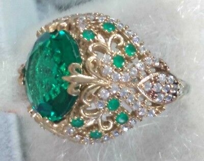 925 Sterling Silver Handcraft  Jewelry Rich Emerald  Ladie's Ring