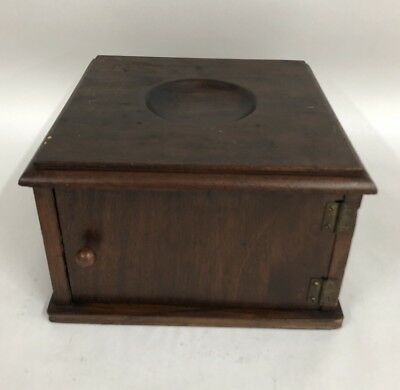 Antique Wood Copper Lined Table Top Cigar Humidor W/ Ashtray Holder Nice!