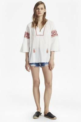 853f299c New French Connection Womens Adanna Crinkle Embroidered Smock Top