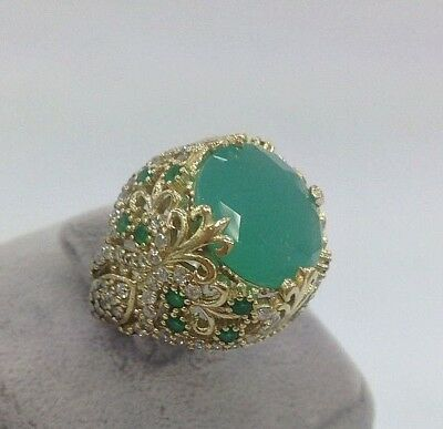 Turkish 925 Sterling Silver Handmade  Jewelry Green Chalcedony  Ladie's Ring
