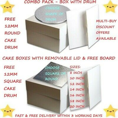 Cake Board and Box Set - Round / Square - Sizes 8 inch - 20 inch - FREEPOST